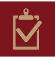 The clipboard icon checklist symbol Flat vector image