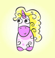 unicorn character in doodle style vector image