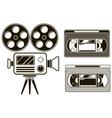 Movie black icon set on white background vector image