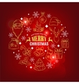 Christmas card with decorative icons vector image