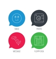 Photo camera floppy disk and message icons vector image