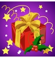 Big red box with a gift on a holiday vector image