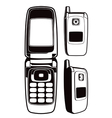 black and white cellphone vector image