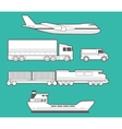 Airplane truck car ship train Black and white vector image