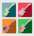 american guitar flat icons with long shadow vector image