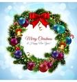 Christmas wreath postcard vector image
