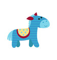 cute cartoon blue horse animal toy colorful vector image
