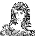 Hand drawn zentangle feather on white background vector image