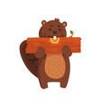 happy little beaver eating piece of wood cartoon vector image