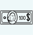 Hundred dollar bill vector image