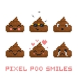 Pixel art style poo smile set vector image