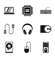 Computer protection icons set simple style vector image vector image