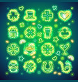 st patrick icons with sparkles vector image