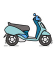 side view blue scooter linear art vector image