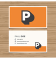 business card letter P vector image vector image