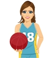 female basketball player holding ball vector image