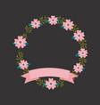 floral wreath flower leaves botanical ribbon label vector image