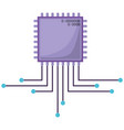 microchip icon silhouette in purple color and vector image