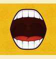 smile pop art style on yellow background vector image