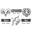 zodiac signs of aries sagittarius and leo vector image