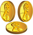 American gold money one cent coin with Lincoln vector image vector image