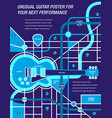 guitar map blue vector image