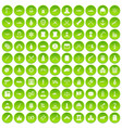 100 wealth icons set green circle vector image