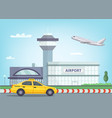 urban background with airport building airplane vector image