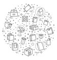 package types icon set in thin line style vector image vector image