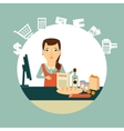 grocery store cashier at work vector image vector image