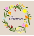Floral frame with spring field flowers and herbs vector image vector image