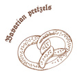 pencil hand drawn of pretzel with sesame with vector image