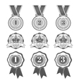 Set with flat medal icons vector image