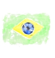 Soccer ball and flag of Brasil vector image