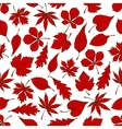 Red autumnal leaves seamless pattern background vector image