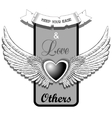 Black heart with wings on a grey frame vector image