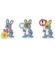 Gray Bunny Mascot with sign vector image