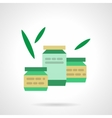 Canned organic food flat color icon vector image