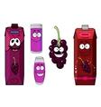 Happy black currant juice cartoon characters vector image
