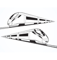 Set of modern high speed train silhouettes vector image