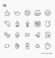 set of tea and tea drinking related thin line icon vector image