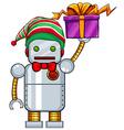 Robot holding christmas present vector image