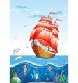 Childrens of a sailboat with red sails and the vector image