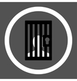 Prison flat black and white colors rounded vector image