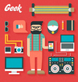 Flat Icons Set of Trendy Geek vector image