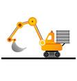 yellow excavator on white background mining vector image