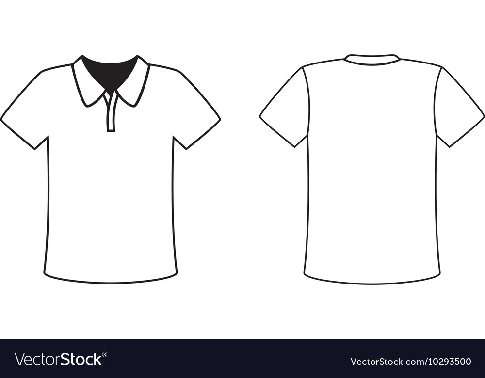 Blank front and back polo tshirt design template vector