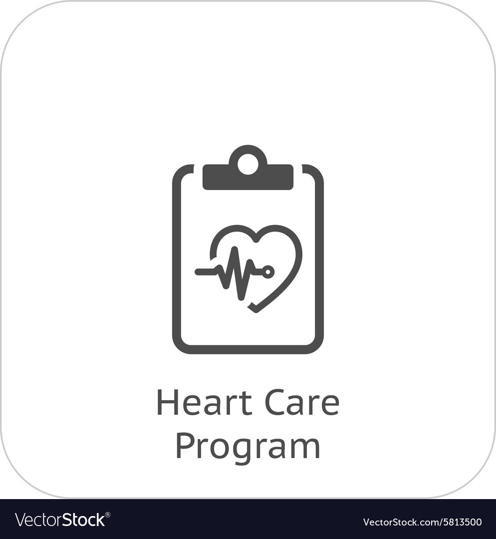 Heart care program and medical services icon vector