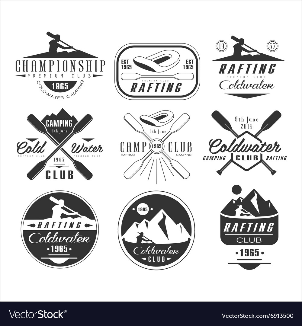 Kayak and canoe emblems badges design elements vector