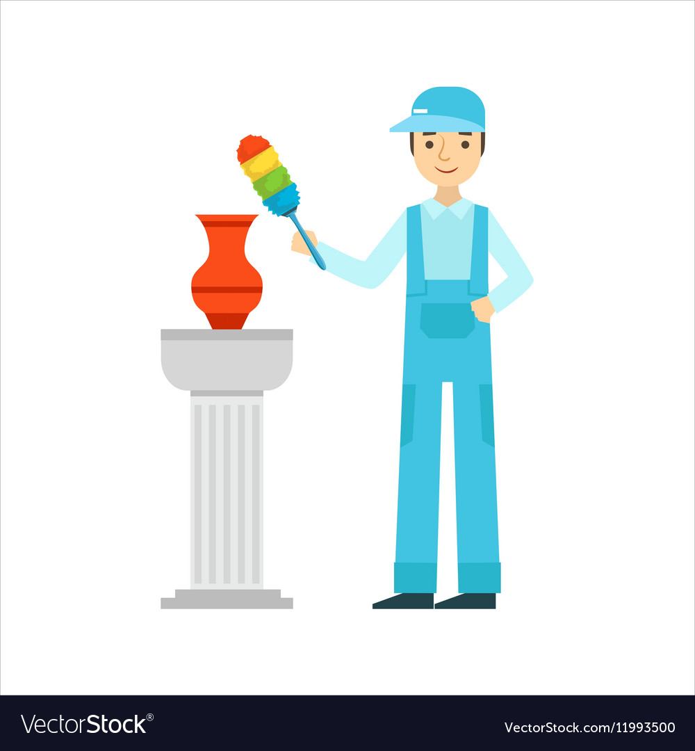 Man dusting antique vase with dust brush cleaning vector
